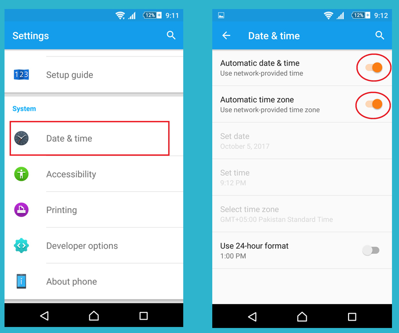 automatic date and time setting for android to solve google play store not working