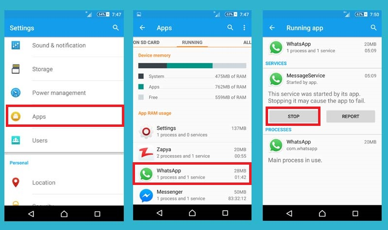Force stop application in Android to boost android battery life
