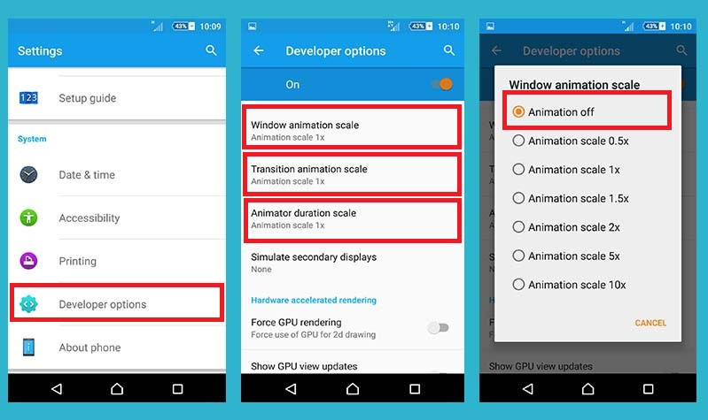 Turn off Windows animation Scale for increasing android battery life