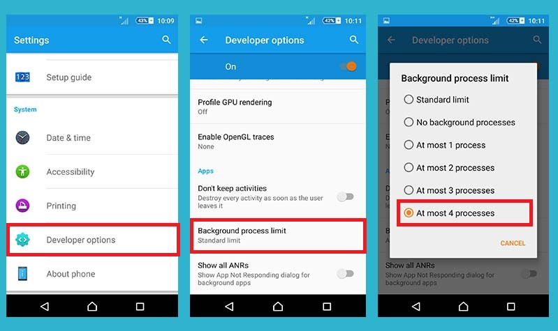 limit background process limit in Android to save battery life