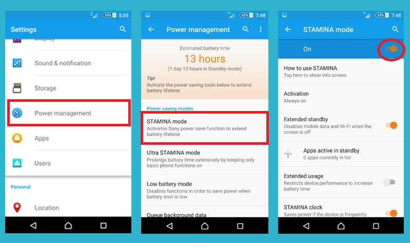 user stamina mode on to boost android battery