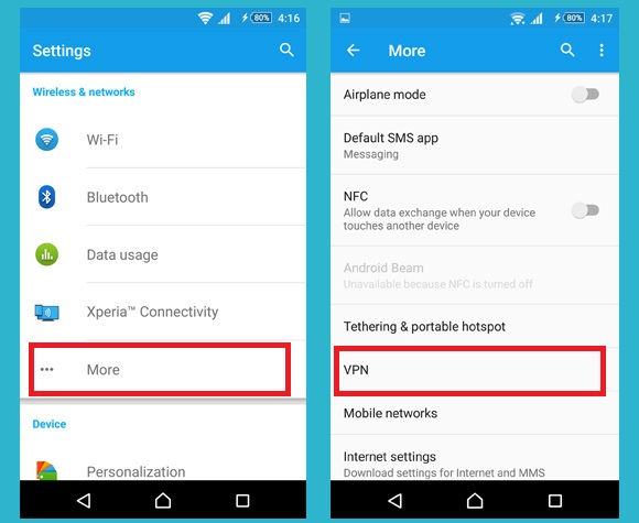 Disable VPN in android