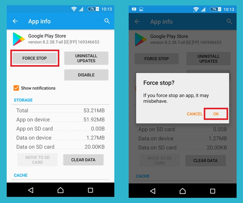 force stop google play store app to solve google play store not working error