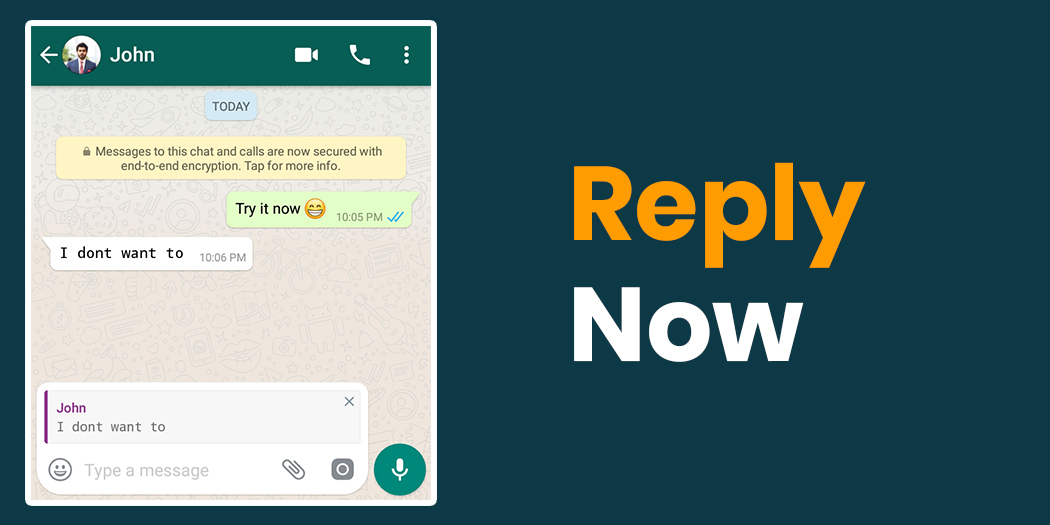 Reply to any message on WhatsApp specifically